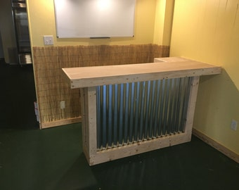 The Mini - 6' rustic corrugated metal mini L shaped dry bar, reception desk, sales counter