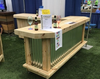 foo-BAR Metal 8' - Rustic real pressure treated wood & corrugated metal outdoor or indoor patio bar