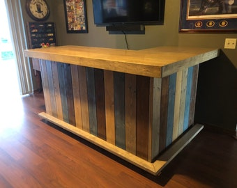 The Rustic Blues - rustic barn wood style bar, sales counter, reception desk 7x4.5 with footrail