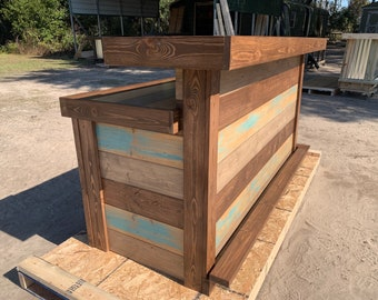 Thomas Maggie Teal wash 2- Level L - 8x3 Rustic real wood barn wood style, pallet style indoor or covered outdoor home patio bar