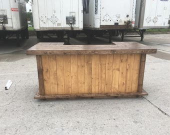 The 400 - 8'  x 3.5' Rustic Finished Barnwood or Pallet Style Bar, Sales Counter reception desk