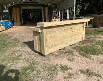 Thomas 2- Level Buffet Bar- 8' Rustic real pressure treated wood barn wood style, pallet style outdoor patio or tiki bar