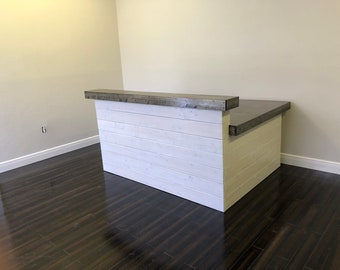 Hello Shabby L Shaped Outside White - 6.5' x 5'  Shabby Chic Rustic Barn Wood Style, Pallet Style 2 level Reception desk