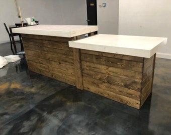 The Small Coffee Shop - 10'  Finished Real Wood sales counter or reception desk with ADA or POS station