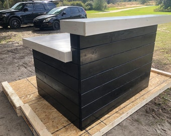 Black and White Hello Shabby L Shaped - Shabby Chic Rustic Barn Wood Style, Pallet Style 2 level Reception desk