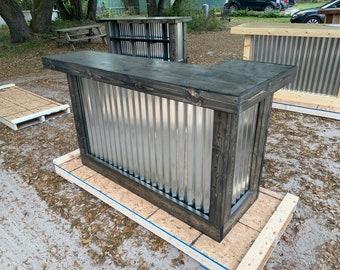 Ebony Mini L- 6' rustic corrugated metal mini L shaped indoor bar
