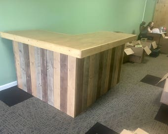 The L Shaped Maggie- rustic barn wood style bar, sales counter, reception desk 6 x 4