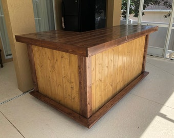 L Shaped 400 - 7 x 4.5 Shabby Chic Rustic Barn Wood Style, Pallet Style outdoor covered or indoor bar