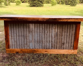 The Rough and Rustic 8' bar - repurposed barn wood and corrugated rusted metal bar, sales counter or reception desk