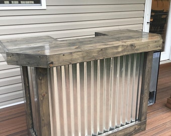 The Cinder Metal foo-bar - 5' Rustic Corrugated Metal and Wood U shaped indoor or covered patio bar with 2 shelves