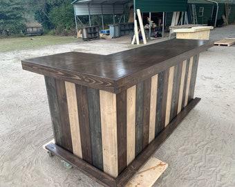 Rustic Dark L Shaped 7' x 4.5' -  Shabby Chic Rustic Barn Wood Style, Pallet Style bar, Espresso, Ebony, Mushroom