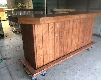 The Plank Top Russet - 8' Rustic Finished Barnwood or Pallet Style Bar, Sales Counter reception desk
