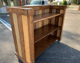 "The Maggie Mostest - 5' wide x 52"" tall x 22"" deep rustic mobile host or hostess station - stand, server station"