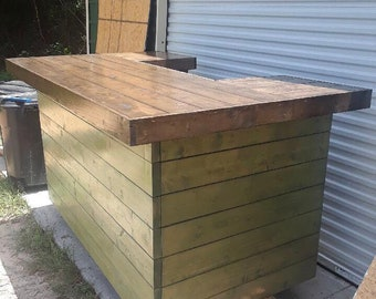 The Horizontal Olive and Espresso - 4 x 7 x 4handmade wood outdoor patio bar with mini fridge space