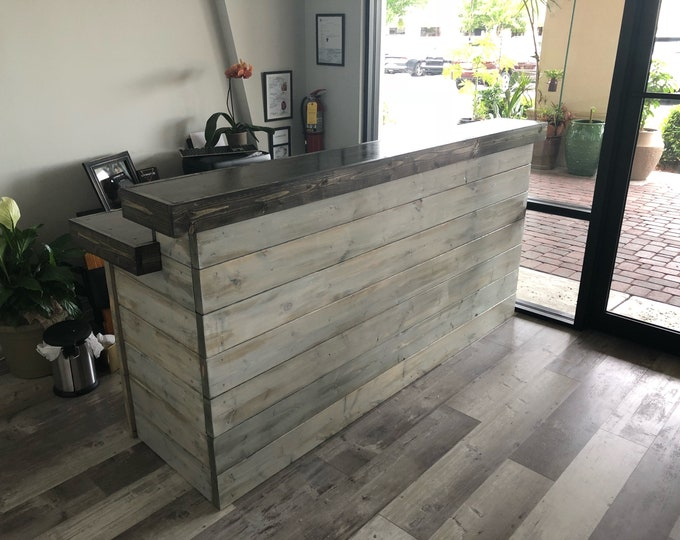 Featured listing image: The Hello Shabby - 7 foot Shabby Chic Rustic Barn Wood or Pallet Style 2 level Reception desk