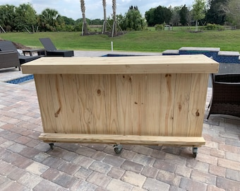 """Straight Kitchen - 10' Rustic real pressure treated wood  pallet style outdoor bar w/ casters, footrail, 16 1/2"""" shelf  and freight 225"""