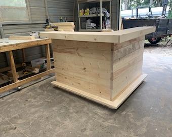 Unfinished Shabby Horizontal L Shaped Bar 5' x 5' -  2 level Shabby Chic Rustic Barn Wood Style, Pallet Style bar