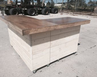 The Savita - 7' x 6 rustic or industrial indoor Sales counter, reception desk.  Rustic white wash and gray birch top.