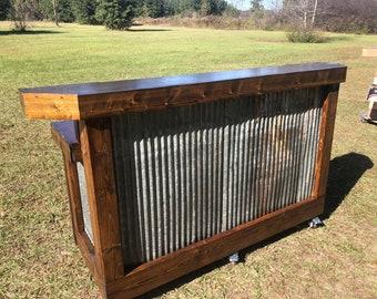 The Rusty Provincial Desk - 6' foot 2 level mobile corrugated metal reception desk