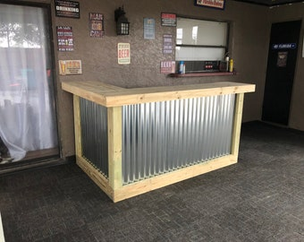 The Metal Kitchen - 7' x 4.5' 2 Level L-shaped Rustic style real pressure treated wood & corrugated metal outdoor or indoor bar, ship 125