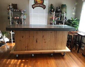 Little Blue and White Beach Bar, Rustic indoor or Outdoor 7' patio bar with casters, footrail and 2 ahelves