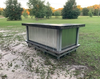 Shabby Gray Beach Bar- 7 x 4.5 rustic style corrugated metal/wood outdoor covered or indoor bar