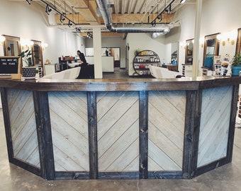 The Rough Sawn Reception Desk - 9.5' rough sawn cedar and birch bar, sales counter ot reception desk with chevron pattern