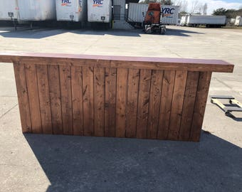Custom Russet Buffet - has 8' pallet style reception desk, sales counter or bar stained and polyurethaned