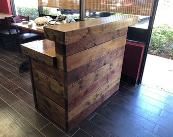 Hello Shabby Red/Brown - Rustic Barn Wood or Pallet Style 2 level Reception desk