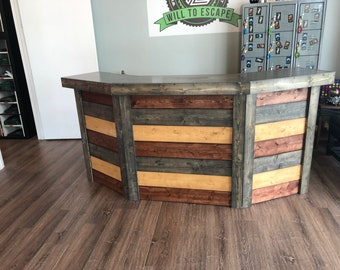 The Jarret- 7.5 Foot Rustic Barn Wood Stlye Or Pallet Style Reception Desk
