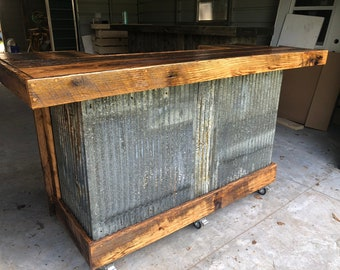 The Rough and Rustic - 6' repurposed barn wood and corrugated rusted metal bar, sales counter or reception desk