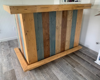 Rustic Blues L Shaped 2 Level 5 x 3 -  Shabby Chic Rustic Barn Wood Style, Pallet Style bar, with full bottom shelf