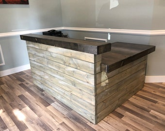 Hello Shabby L Shaped - Shabby Chic Rustic Barn Wood Style, Pallet Style 2 level Reception desk