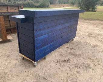 Electric Blue Horizontal Buffet Plus 8' -2 level Shabby Chic Rustic Barn Wood Style, Pallet Style indoor bar