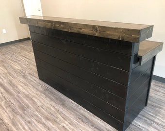The Ebony and Black Shabby - 6 foot Shabby Chic Rustic Barn Wood or Pallet Style 2 level Reception desk