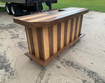 Planktop Two Tone Maggie - 8' Rustic, Shabby Chic Rustic Barn Wood Style, Pallet Style outdoor covered or indoor bar