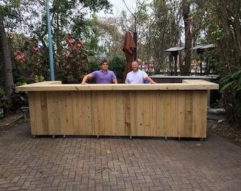 Mega U 2 Level  - 4.5' x 14' x 4.5' 2-Level L shaped rustic pressure treated wood outdoor or indoor bar