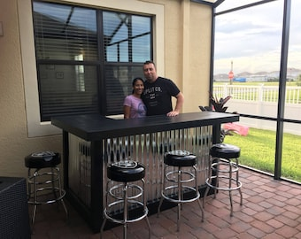 The Silver and Black - 7' x 4' outdoor patio bar or indoor dry bar, sales counter, reception desk