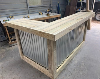 The Metal Kitchen - 7' x 4.5' 2 Level L-shaped Rustic style real pressure treated wood & corrugated metal outdoor or indoor bar