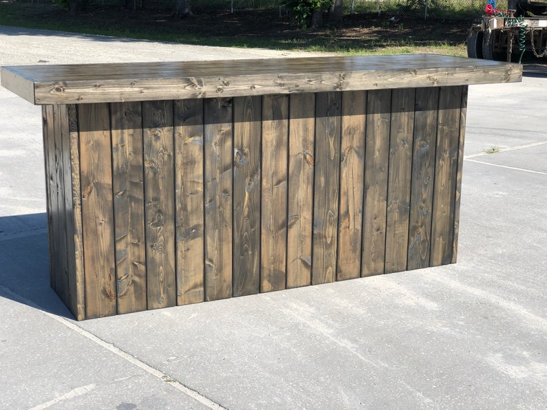The Plain Old Ebony 8 Foot Rustic Barn Wood Or Pallet Look Bar Retail Sales Counter Or Reception Desk