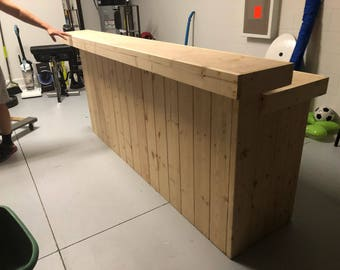 Buffet 8' - Unfinished 2 level Shabby Chic Rustic Barn Wood Style, Pallet Style bar