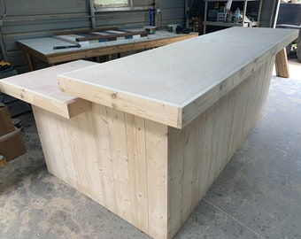 Mini Lounge  9' x 5' - Unfinished rustic barn wood style, pallet style counter with POS/ADA drop