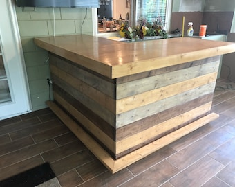 Rocky Top Desert Sand Smooth Top L Shaped 6' x 6' - Shabby Chic Rustic Barn Wood Style, Pallet Style bar