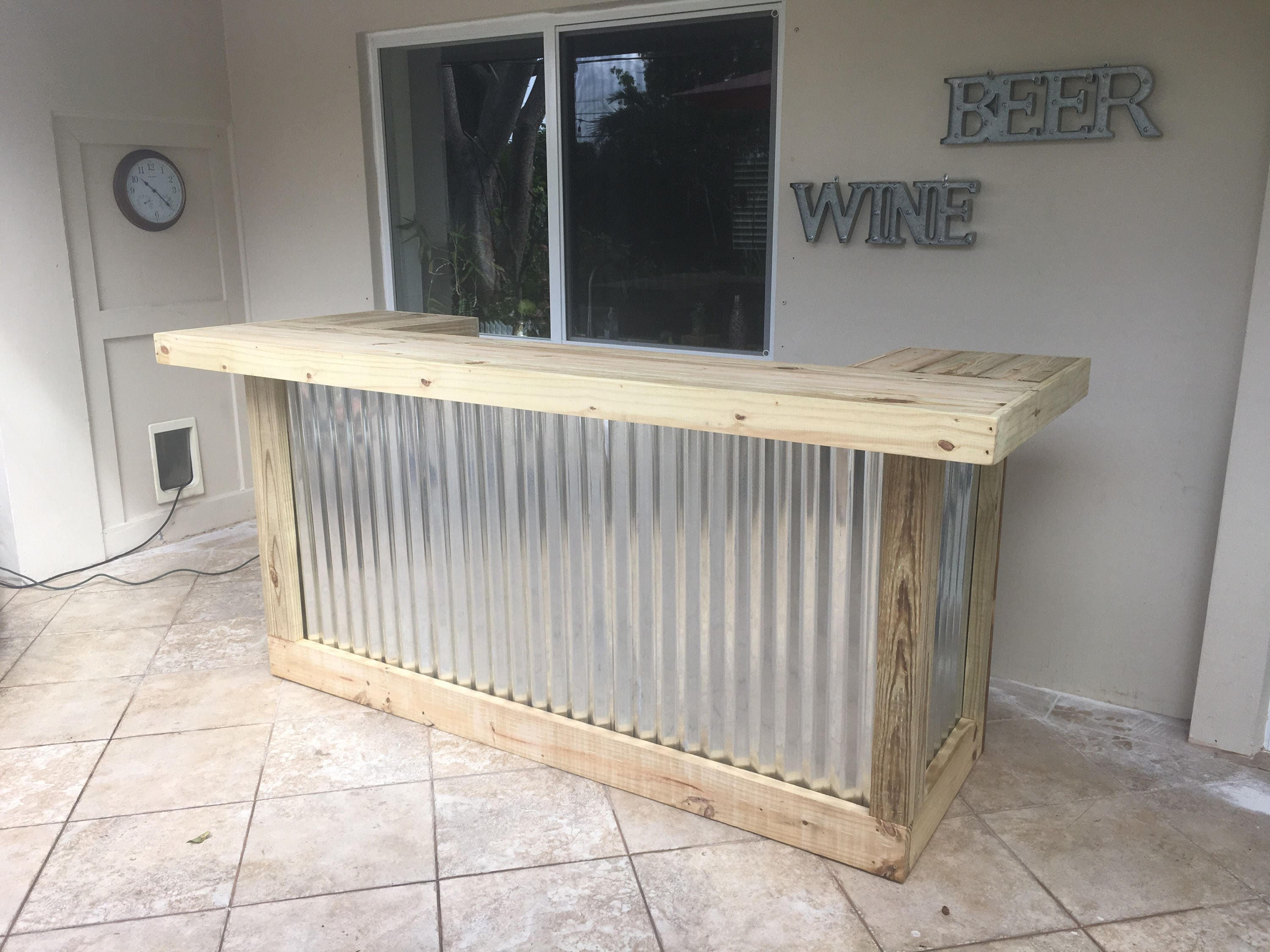 the thomas 3 x 8 x 3 two level rustic corrugated metal and treated wood u shaped outdoor patio bar - Patio Bars
