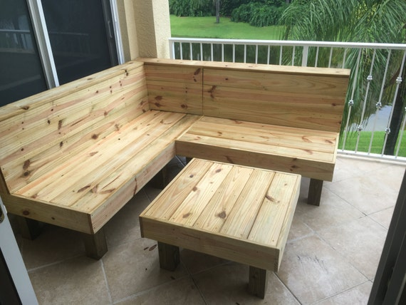 The Sectional - Rustic wood patio benches and table or ottoman. Makes a 6x6  sectional