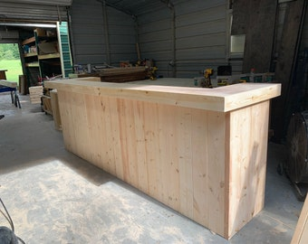 Ethan Unfinished - 10 foot Shabby Chic Rustic Barn Wood Style, Pallet Style 2 level Reception desk, sales counter or bar