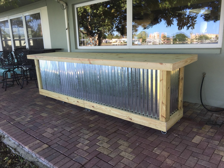 & The Outdoor Shiny Bar - 12u0027 corrugated metal rustic outdoor patio bar