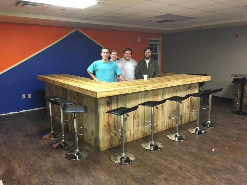 10/' x 10/' x 10/' Rustic style real pressure treated wood outdoor or indoor patio bar Ultimate U Shape