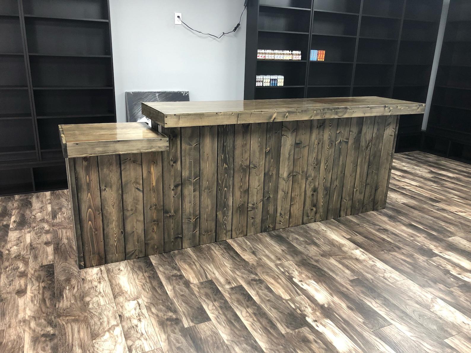 Bob/'s Bar sales counter or reception desk 7/' Small L Rustic barn wood look indoor bar