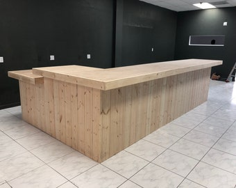 Lounge 14' x 8' Unfinished rustic barn wood style, pallet style counter with POS/ADA drop